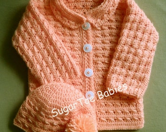 Baby Girl or Boy Sweater Jacket and Hat PDF Crochet Pattern 24 months