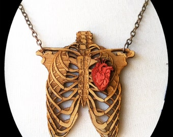 Medium Wooden Rib cage with Heart Necklace