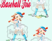 Vintage Digital Download Baseball Girl Image Collage Large JPG PNG Blonde Red Brunette