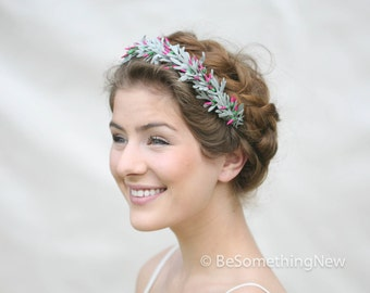 Woodland Wedding Crown dusty green Leaves and Vintage Pink Buds, Wedding Headpiece, Hair Wreath, Wedding Hair Accessory,Hair Garland