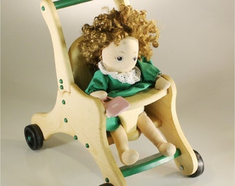 Doll Stroller for Toddlers - Doll Accessories - Wooden - color of your choice