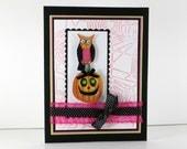 Halloween cards, Owl halloween card, pumpkin, embossed halloween greeting card, handmade halloween card