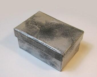 """Silver and Black Paper Mache 3.25"""" x 2.25"""" x 1.5"""" Gift Box"""