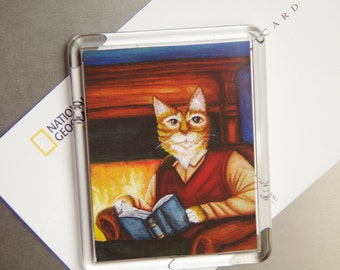 Cat Study Magnet, Orange Tabby Cat Reading Novel by Fire, Fridge Magnet