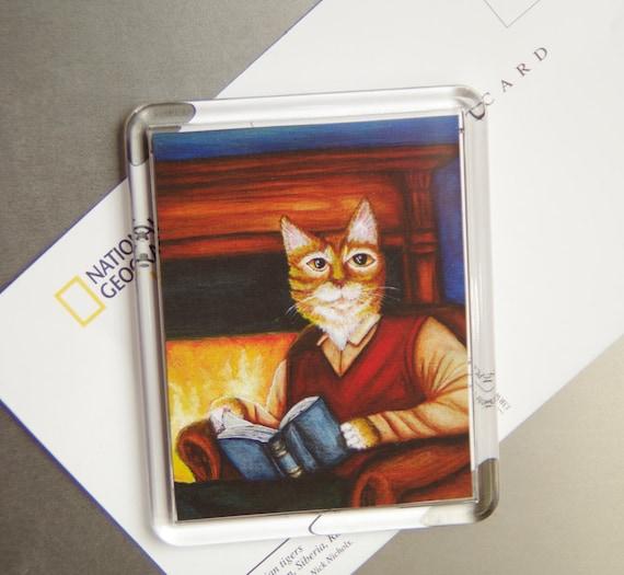 Cat Study Magnet, Orange Tabby Cat Reading Novel by Fire, Fridge Magnet