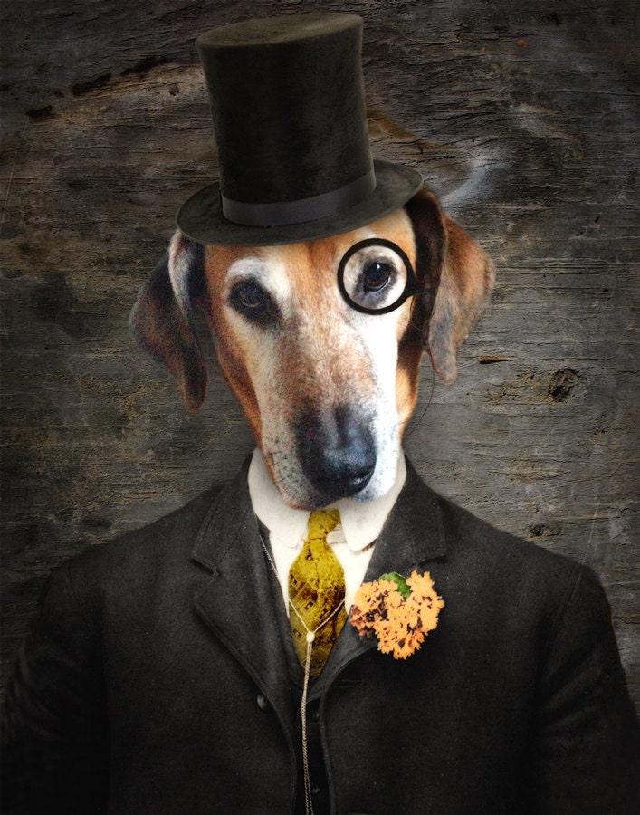 4b21278a43c Pet portrait dog art monocle top hat dog print veterinary jpg 707x900 Etsy dog  top hat