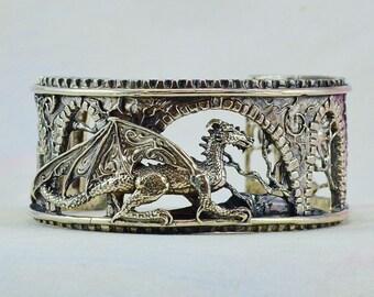 "Size Medium Fantasy Dragon Bracelet ""Brackenthal's Keep"" in Sterling Silver"