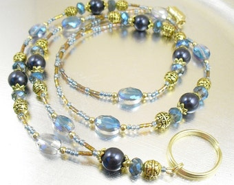 Blue Swarovski Pearl, Crystal Glass and Golden Brown Aurora Borealis Beaded ID Lanyard, Badge Holder, ID Necklace