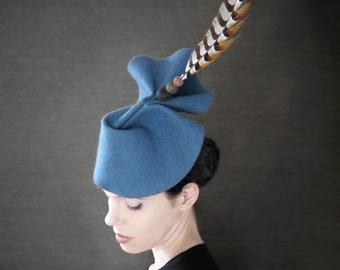 Blue Felt Fascinator With Pheasant Feather - Made to Order