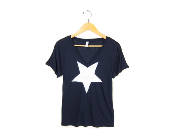 White Star Tee - Oversized V-Neck Drop Sleeve Boxy T-shirt in Navy - Women's Size S-2XL