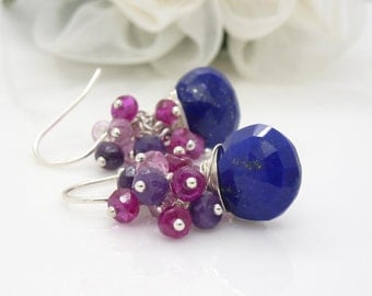 Blue lapis lazuli earrings in sterling silver, with pink and blue gemstone clusters