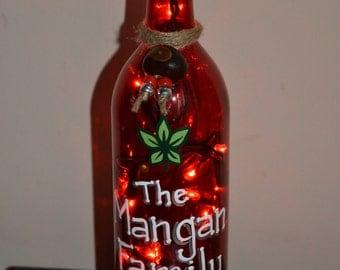 PERSONALIZED Ohio State Lighted Wine Bottle Lamp,  Hand Painted Custom Illuminated Night Light, Ohio State Buckeyes Family, Home Decor, OSU