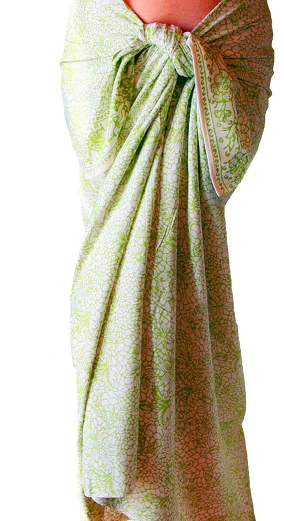 White and Green Sarong - Beach Sarong - Womens Clothing Beach Wrap Skirt - Beach Wedding Pareo - Swimsuit Coverup - Handmade Batik Sarong