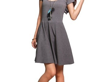 Fit and Flare Dress - Gray Casual Dress with Side Pockets - Gray Cotton Dress - Shirt Dress - Babydoll Dress - Preppy Chic - Gray Knit Dress