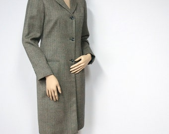 Vintage Coat Wool Herringbone Tweed 1980's Harve Benard Women's Brown Wool Preppy Overcoat Size 6