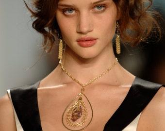 gold necklace, Amethyst necklace, Macrame jewelry, Modern jewelry, teardrop jewelry, Ametrine necklace, teardrop, Runway