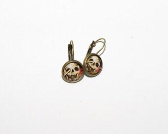 War Skull - Bezel Clasp Earrings 12mm