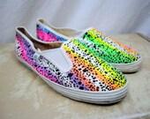 RARE Vintage 80s Neon Rainbow AIRWALK Deck Shoes - RAD - Made in Korea - Size 9