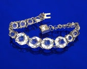 Vintage 1930's Open Back Bezel Set Jewel Bracelet with Square Cut Jeweled Clasp