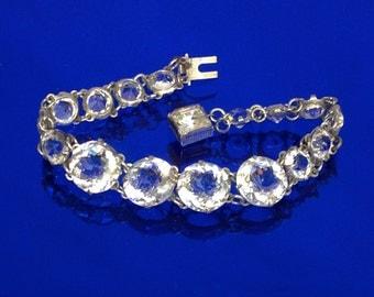 Vintage 1930's Open Back Bezel Set Jewel Bracelet with Square Cut Jeweled Clasp