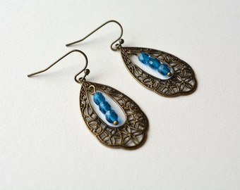 Brass Filigree Dangle Earrings Blue Beaded Victorian Style Antiqued