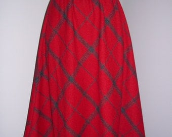 Vintage Plaid Wool High Waist Skirt - Red and Grey - Large