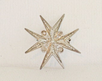 Vintage Sterling Silver 925 Maltese Cross Starburst Brooch Pin (B-3-6)