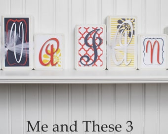 Wood letter name blocks - Price is per block - Custom to your style - White navy red yellow flower girl