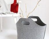 Grey Cottage Bag / Large Felt Tote bag / Felt Laundry Basket / Felt Magazine Rack / Gift for Mom / Felt Bag