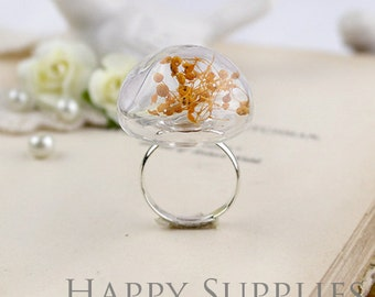 2.5 Per Set - 5 sets 25mm Half Globe Glass Bottle With Brass Ring (GHM02) - Big Sale