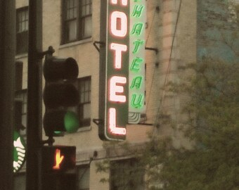 Chicago Photo, HOTEL CHATEAU, Wrigleyville, vintage neon sign, Chicago Photography, Chicago Art, green, pink, Mid Century, Boystown, decor