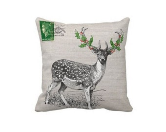 Christmas Holiday Pillow Cover Woodland Deer with Holly Antlers Cotton and Burlap Pillow