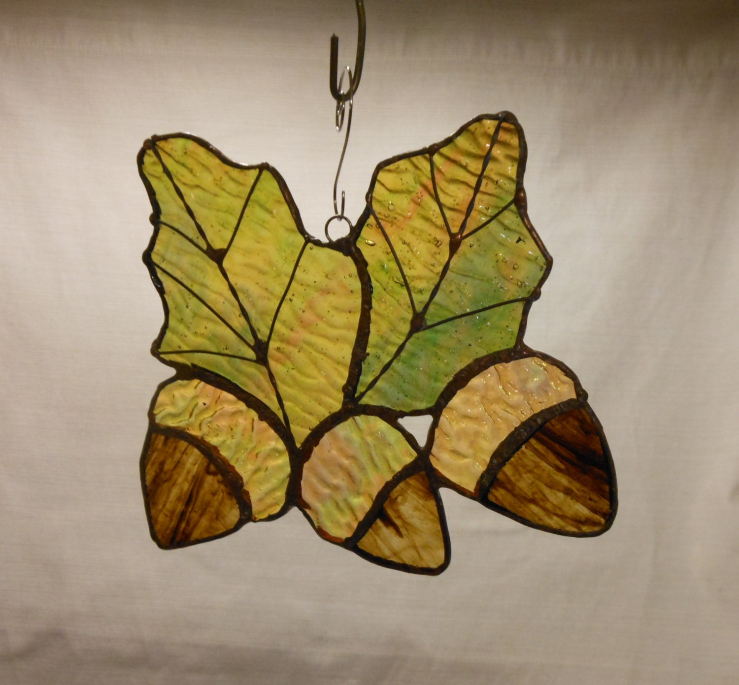Fall Leaves With Acorns Stained Glass Sun Catcher Multi