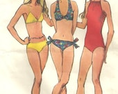 Simplicity 9933 Vintage 70s Sewing Pattern // Swimsuit Bathing Suit Bikini // Size 12 Bust 34