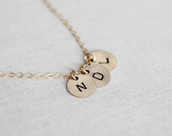 Three Initial Necklace - Tiny Gold Initial Jewelry - Three Gold Discs - Hammered, Hand Stamped, Personalized Necklace