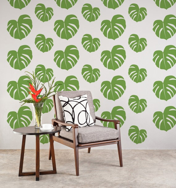 Tropical Wall Decals Beach Wall Decor Tropical Leaf
