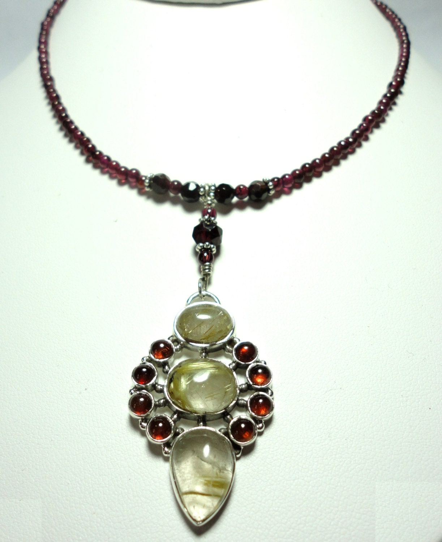 Golden Rutilated Quartz Jewelry Of Garnet And Quartz Necklace Golden Rutilated Quartz And Garnet