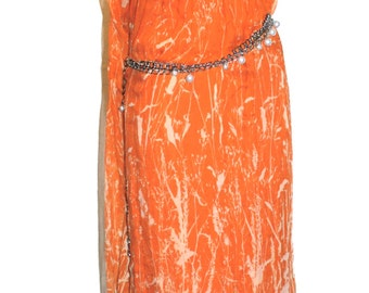 CHRISTIAN DIOR BOUTIQUE Vintage Maxi Dress Chiffon Jewel Belted Grecian Gown - Authentic -