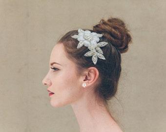 Pearl flower wedding comb, flower wedding comb, floral wedding comb, flower bridal comb, flower comb, floral comb, floral bridal comb - Rosa