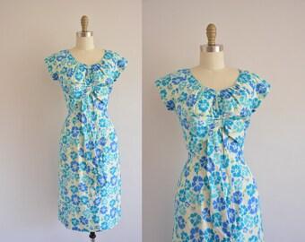 vintage 1950s dress /  Miss Brooks dress / 50 silk floral dress