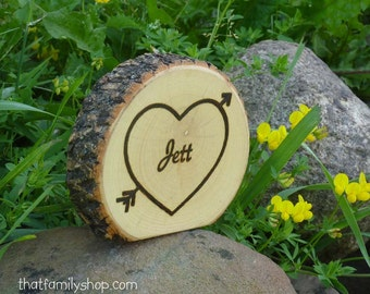 Custom Name on a Log Slice Personalized Birthday Party Table Marker