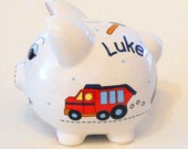 Personalized Piggy Bank Construction Trucks and Tools in Navy and Red