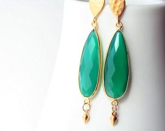 Green Earrings, Dangle Earrings, Green Jewelry, Luxe Earrings