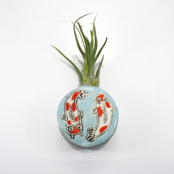 Items similar to koi fish magnetic bud vase holds water for Koi fish vase
