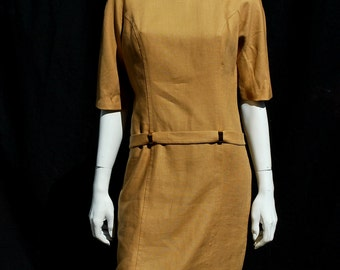 Vintage 60's linen GIORGIA BULLOCK dress MOD space age modern mid century sM by thekaliman