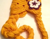 Crochet Rapunzel Hat, Girl's Princess Hat with Braids - Made to Order