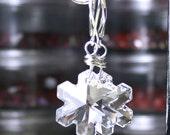 Let it Snow - Swarovski Crystal Snowflake Earrings - Winter Wonderland Earrings - Sterling Silver Lever Backs