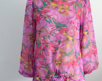 Retro Boho Chic Runway Oversized Floral Sheer Top Blouse By Joan Davis Free Shipping US