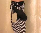 Tribal belly dance and Festival Flared Pants and hip scarf set, Seaweed Coverup Skirt set in black and white stripes