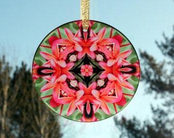 Glass Suncatcher Boho Chic Mandala Frangipani Plumeria New Age Sacred Geometry Hippie Kaleidoscope Unique Gift For Her Mod Gypsy Mau Loa